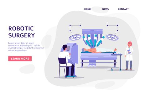 Robotic surgery - banner with doctors cartoon characters using advanced technology for patients treatment, flat vector illustration. Science innovations for human health.