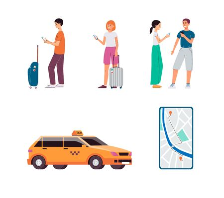 Online taxi service - isolated set of drivers, yellow cab car and mobile app screen. Cartoon people holding phones and waiting with luggage - flat vector illustration. Stock Vector - 137968691