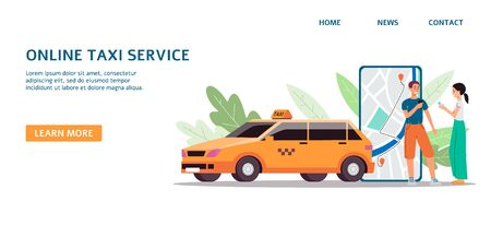 Taxi online service banner with people cartoon characters ordering car via mobile phone application, flat vector illustration isolated on white background.