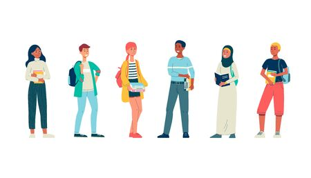 Diverse multicultural young people characters - university or college students, flat vector illustration isolated on white background. Education and ethnic equality.