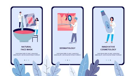 Dermatology and cosmetology clinic app screen set with cartoon dermatologist people looking at epidermis, mixing face mask and holding equipment - flat vector illustration 向量圖像