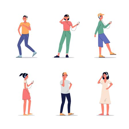 Young people with headphones - flat set of cartoon men and women listening to music isolated on white background. Modern youth and electronics - flat vector illustration.