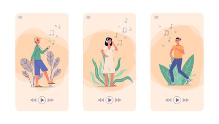Music app screen set with cartoon people listening to songs in headphones and dancing - screenshot interface of mobile audio application - flat vector illustration