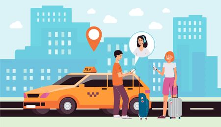 Cityscape background with taxi car and people cartoon characters ordering transportation via internet app, flat vector illustration. Advanced network technology.