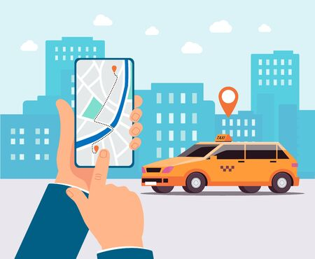 Urban landscape background with taxi car and hand holding phone with internet app interface on screen, flat vector illustration. Advanced technology for transportation. 일러스트