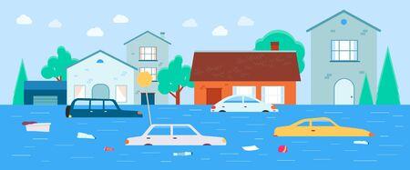 Maisons et transports inondés sous l'eau, fond d'illustration vectorielle de dessin animé plat. Opération de sauvetage après les catastrophes naturelles et le modèle de bannière sur le réchauffement climatique.