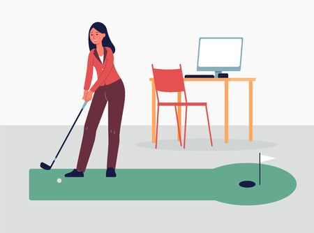 Business Woman playing golf game during recreation break at work, flat vector illustration isolated on office interior background. SPort games and leisure concept.