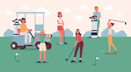Female golf player team standing on green course with golfing equipment - flat banner with golfer women team training at field. Vector illustration.