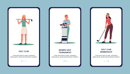 Golf club or golf tournament - mobile application design with women cartoon characters, flat vector illustration isolated on background. Sport and leisure concept.