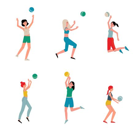 Women beach volleyball players cartoon characters set of flat vector illustration isolated on white background. Summer outdoor team games and sport activity.