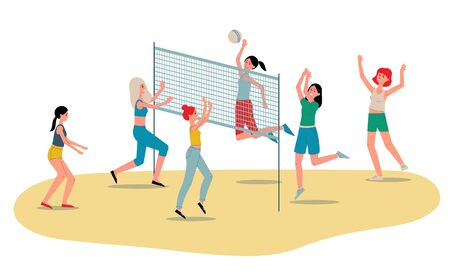 Beach volleyball womens team players flat vector illustration isolated on white background. Sportive girls cartoon characters playing game on sand plage.