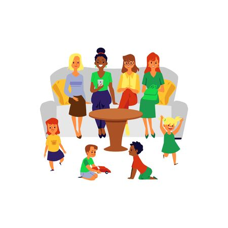 Mother friend group at children play date - cartoon women sitting on sofa and looking at kids playing together.
