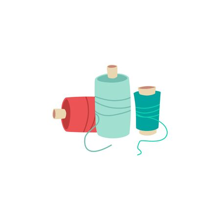 Colorful sewing thread spools isolated on white