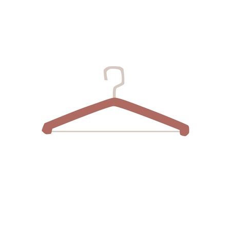 Empty wooden clothes hangers with hook icon flat vector illustration isolated on white background. Fashion stores and ateliers equipment or wardrobe accessories element.