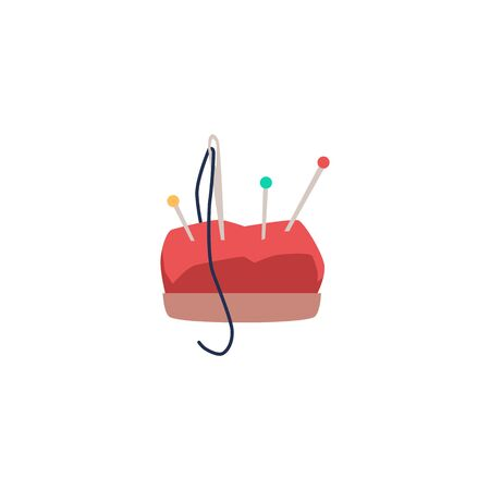 Red cartoon pin cushion with colorful pins and sewing needle with thread - hand craft equipment element isolated on white background - flat vector illustration. Vektorové ilustrace