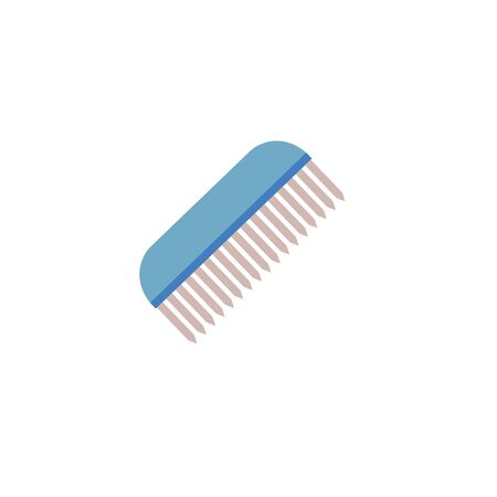 Blue hair comb - flat icon isolated on white background. Simple beauty accessory for hair styling - single hairbrush symbol vector illustration.