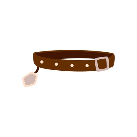 Brown dog collar isolated on white background - flat drawing of pet animals restraining strap with belt buckle and name tag. Vector illustration.