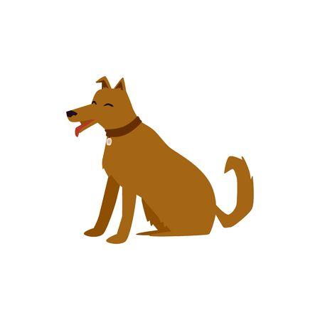 Cute brown cartoon dog sitting with happy face Иллюстрация