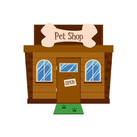 Pet shop building facade with open sign on door and green doormat with dog paw prints