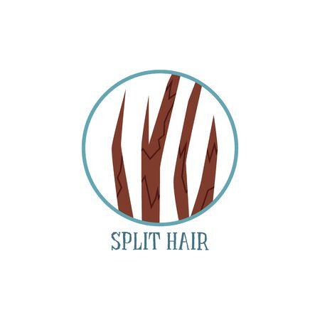 Split hair condition icon or symbol, flat vector illustration isolated on white Illusztráció
