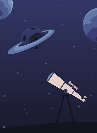 Astronomy poster with telescope on tripod looking at night sky with planets and stars