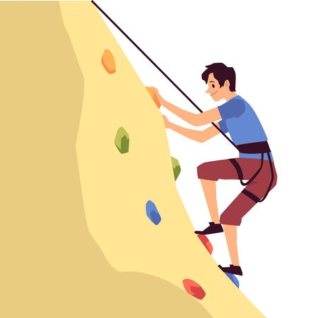 Man cartoon character hanging on cliff and climbing on mountain flat vector illustration isolated on white background. Hiking, alpinism and outdoor sport activity. Ilustrace