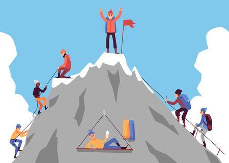 Gens de dessin animé escaladant la montagne et homme heureux debout au sommet avec un drapeau célébrant le succès. Groupe de grimpeurs approchant du pic rocheux - illustration vectorielle plane.