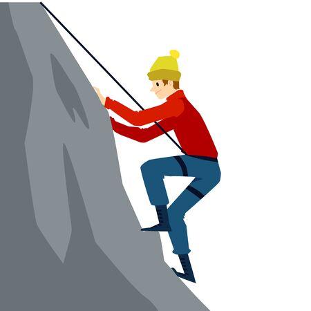 Cartoon man climbing a mountain with safety equipment