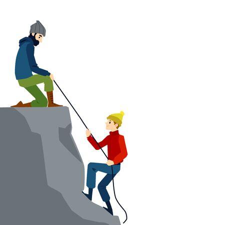 Two mountain climber men isolated on white Illustration