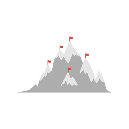 Mountain with marked by alps red flags hill peaks