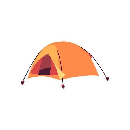 Yellow outdoor tent isolated on white background - dome shaped camping shelter in flat cartoon style. Tourism and travel equipment - vector illustration.