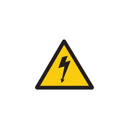 High voltage danger sign with lightning bolt arrow inside yellow triangle