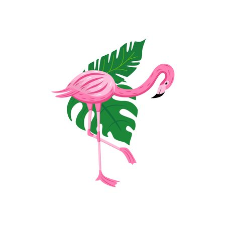 Colorful cartoon flamingo looking down - exotic pink bird with tropical green leaves standing on one leg.