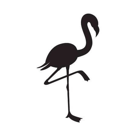 Black flamingo silhouette isolated on white background - flat outline of exotic tropical bird standing on one leg from side view, vector illustration. Иллюстрация
