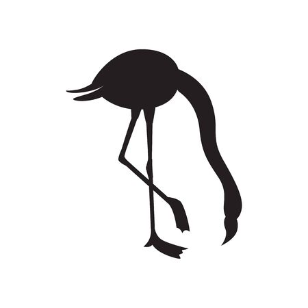 Flamingo bird black silhouette standing with bowed head icon or symbol, vector illustration isolated on white background. Wild fowl shape monochrome contour. Illustration
