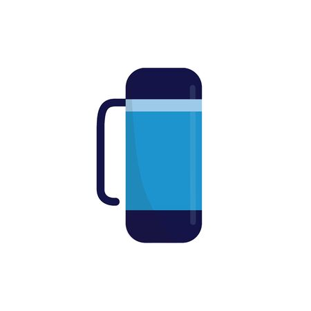 Flask for hot beverages flat cartoon vector illustration isolated on white  イラスト・ベクター素材