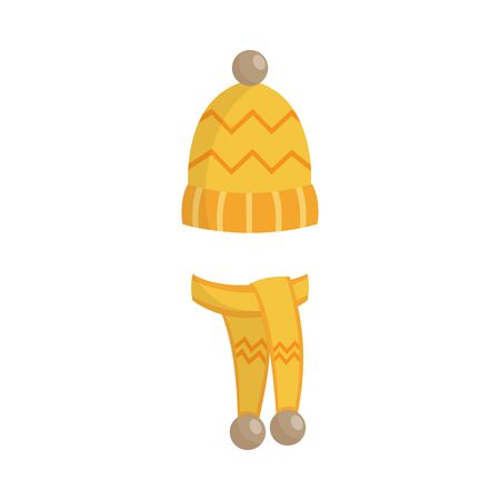 Winter knitted yellow warm hat and mittens pair flat cartoon vector illustration isolated on white background. Cold Christmas season clothing icon for prints and cards.