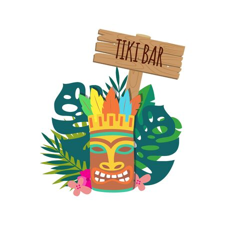 Tiki bar banner or sign with Hawaiian traditional wooden mask and tropical leaves