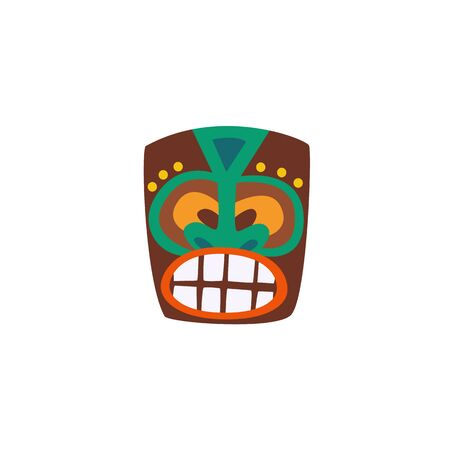 Wooden tiki mask with drawn face icon flat cartoon vector illustration isolated on white background. Hawaiian Polynesian culture totem symbol for summer design.
