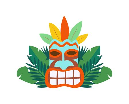 Tiki hawaiian wooden mask icon and tropical palm leaves, flat cartoon vector illustration isolated on white background. Vacation on Hawaii and exotic summer journey.