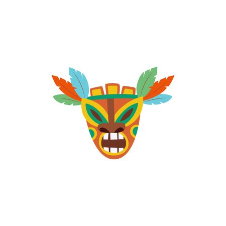 Colorful Hawaiian Tiki mask with angry expression and feather ornaments isolated on white 向量圖像