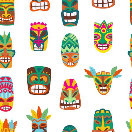 Seamless pattern with wooden tiki colorful masks 向量圖像