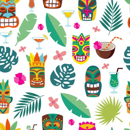 Tropical leaves and totem masks in seamless pattern texture