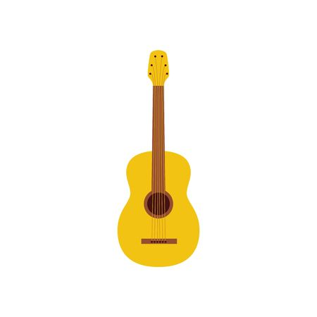Acoustic guitar a musical instrument single icon, flat cartoon vector illustration isolated on white background. Music concert or performance, festival symbol design.