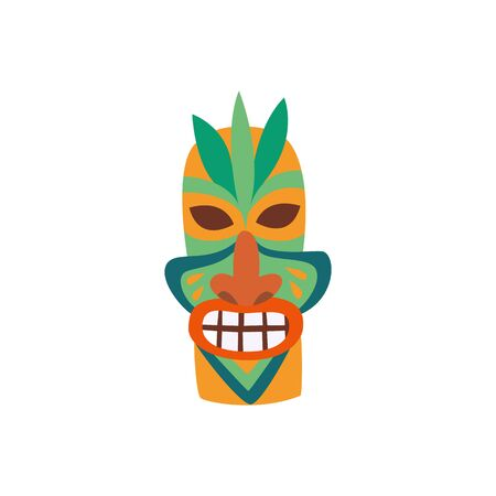 Colorful traditional Hawaiian tiki mask flat cartoon vector illustration isolated on white background. Polynesian totem symbol for summer vacation and traveling design.