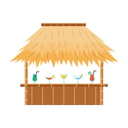 Tropical tiki bar hut with cocktail drinks on counter