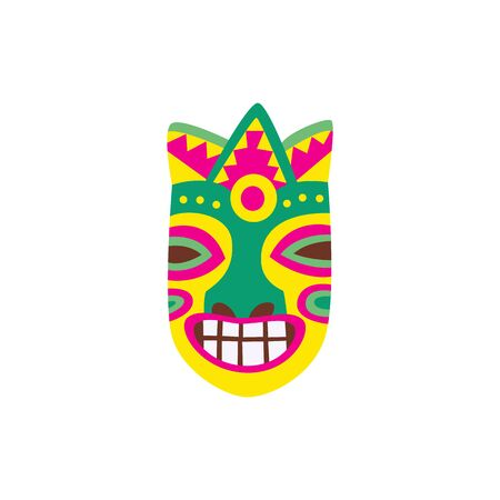 Colorful tiki mask icon with painted smiling face isolated on white 向量圖像