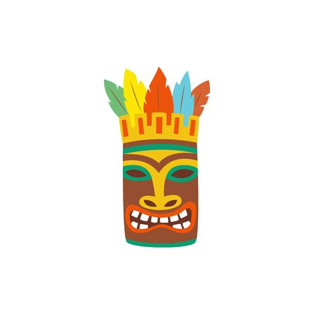 Scary wooden Tiki totem mask icon cartoon vector illustration isolated on white