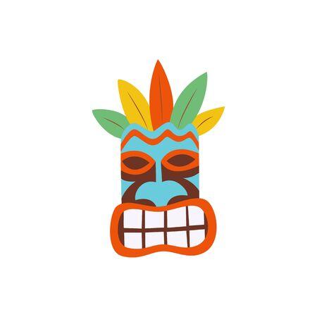 Hawaiian tiki mask colorful icon flat cartoon vector illustration isolated on white