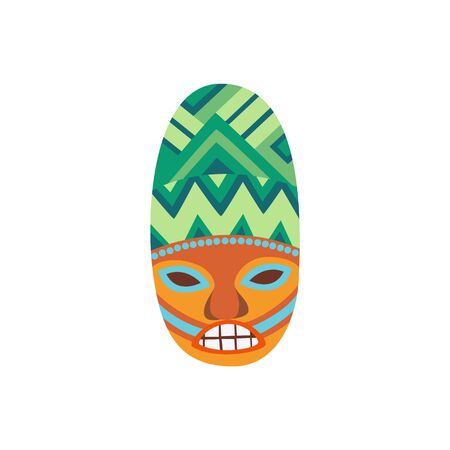 Wooden Hawaiian mask icon or symbol flat cartoon vector illustration isolated on white background. Polynesian totem wood carving idol for summer cards and invitations.